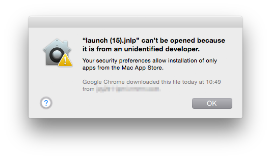 launch(15).jnlp can't be opened because it is from an unidentified developer. Your security preferences allow installation of only apps from the Mac App Store.